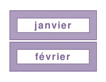 Calendar headings purple plaid in French
