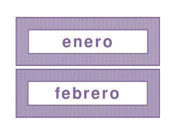 Calendar headings purple plaid in Spanish