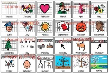 Calendar symbols weather special ed elementary calendar da