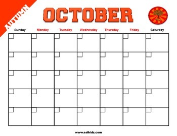 Calendar with day and month flashcards