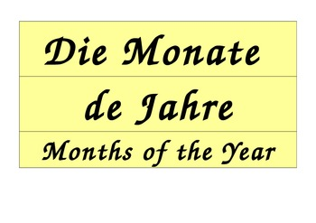 Months of the Year Calendar in German