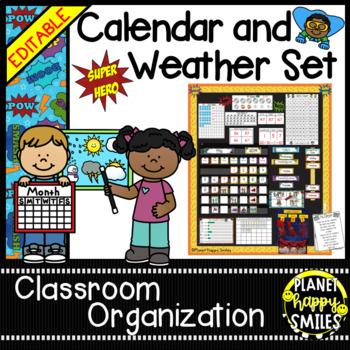Calendar/Weather Set ~ Super Hero Theme