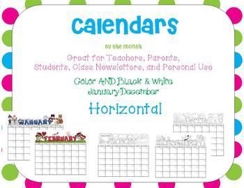 Calendars:  All 12 months (+ 4 alternatives): Horizontal!