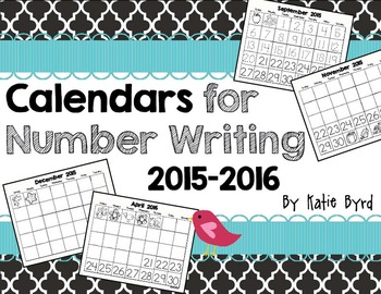 Calendars for Number Writing  2015-2016