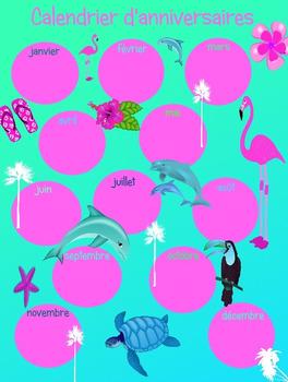 Calendrier d'anniversaires tropique