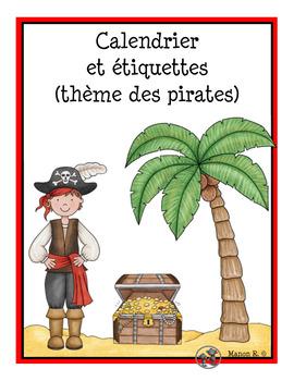 Calendrier et étiquettes thème des pirates