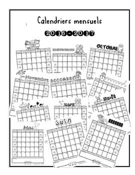 Calendriers mensuels noir et blanc
