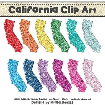California Clip Art Graphic Set - Rainbow Glitter {Persona
