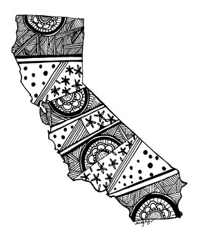 California Doodle / Coloring page /Poster