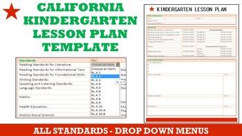 California Kindergarten Lesson Plan Template - All Standar