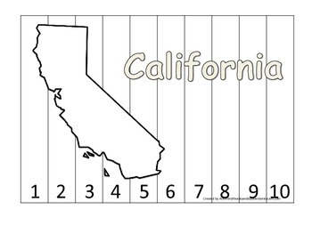 California Number Sequence Puzzle.  Learn the States presc