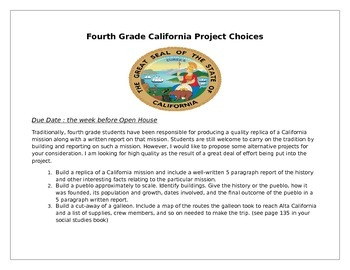 California Project Ideas for Fourth Grade