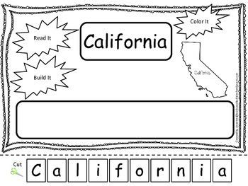 California Read it, Build it, Color it Learn the States pr