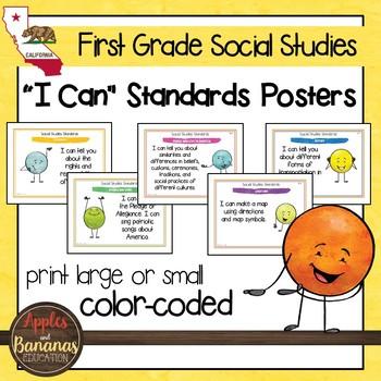California Social Studies Standards - First Grade Posters