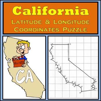 California State Latitude & Longitude Coordinates Puzzle -