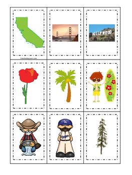California themed Memory Matching and Word Matching presch