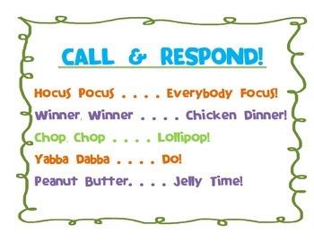 Call & Respond Poster (Classroom Management)