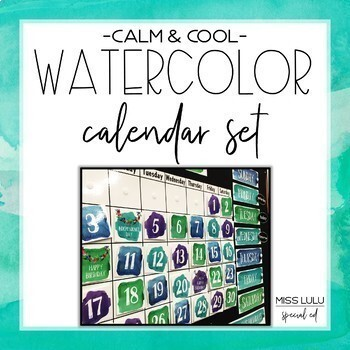 Calm & Cool Watercolor Calendar Set