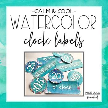 Calm & Cool Watercolor Clock Labels