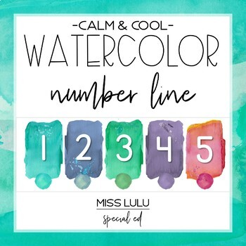 Calm & Cool Watercolor Number Line (1-100)