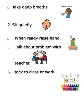 Calm down checklist
