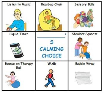 Calming Choice Board