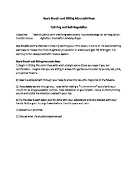 Calming Self-Regulation Skills- Bees Breath and Sitting Mo
