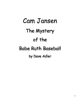 Cam Jansen and The Mystery of the Babe Ruth Baseball - Book Study