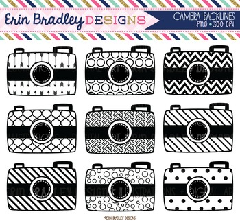 Camera Clipart - Black and White