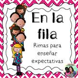 Caminando en fila - Spanish classroom management poems for