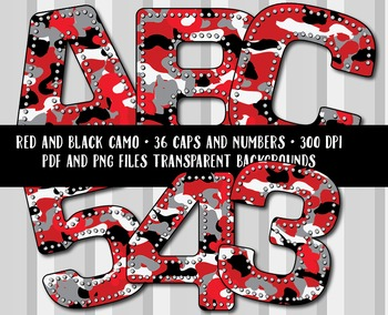 Camouflage Alphabet in Red and Black - Special Request - 3