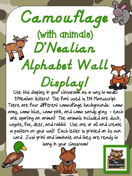 Camouflage D'Nealian Alphabet Wall Display