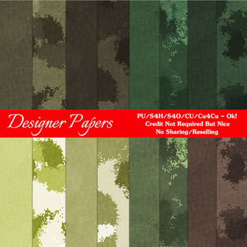 Camouflage Scrapbook size Digital Papers Package 1