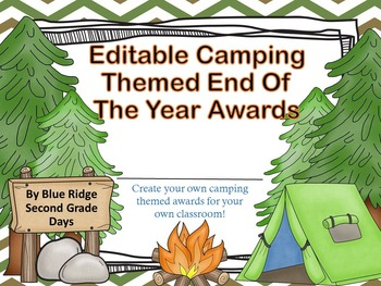 Camp Awards: Editable Camping Event, End Of The Year, or S