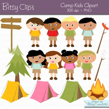 Camp Kids Digital Art Set Clipart Commercial Use Clip Art