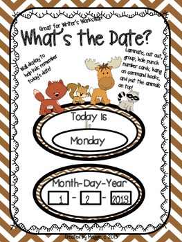 """Camp or Forest Theme """"What's the Date?"""" Writer's Workshop Signs"""