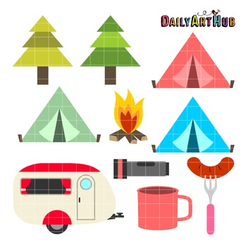 Camping Art Clip Art - Great for Art Class Projects!