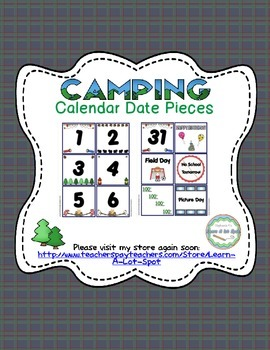 Camping Calendar Date {Number} Pieces