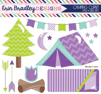 Camping Clipart Purple