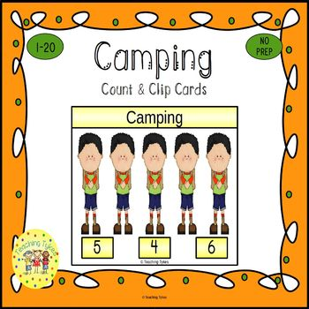 Camping Count and Clip Task Cards