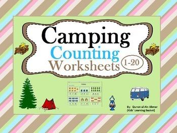 Camping Counting Worksheets (1-20):