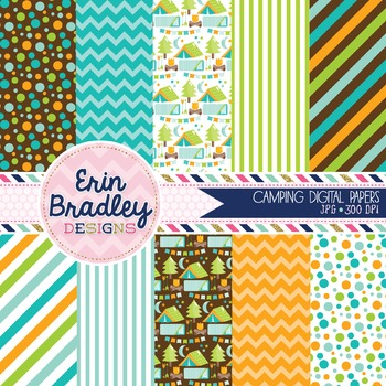 Camping Digital Papers Blue