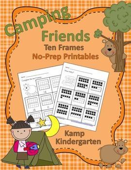 Camping Friends Ten Frames No-Prep Printables (Quantities