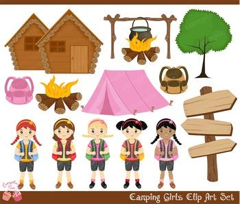 Camping Girls  2 Summer Camp Clipart Set