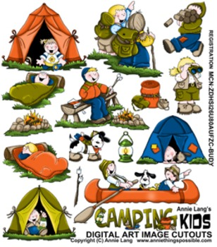 Camping Kids Character Clipart