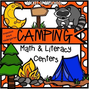 Camping Math and Literacy Centers for Preschool, Pre-K, an