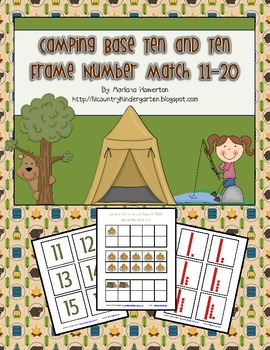 Camping Ten Frame and Base Ten Number Match Activity Summer