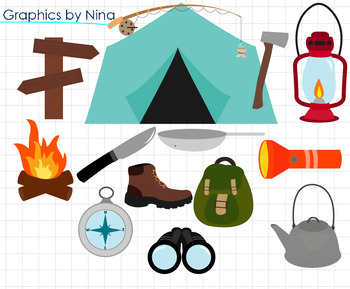 Camping Tent Fire  Clipart