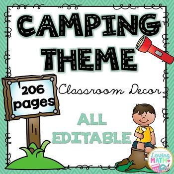 Camping Theme Classroom Decor - EDITABLE