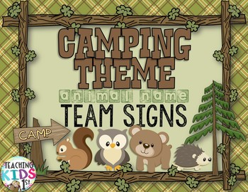 Camping Theme Animal Name Team Signs
